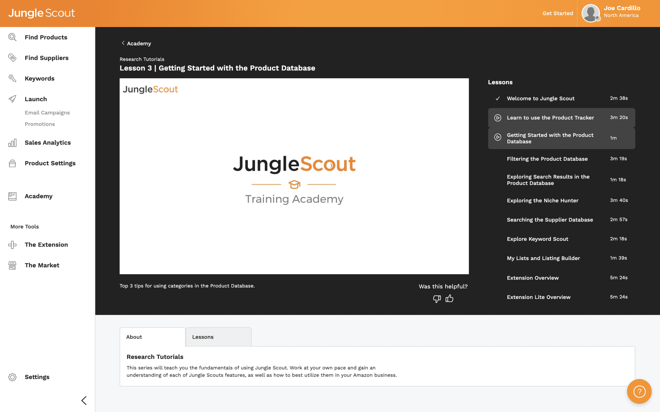 The Jungle Scout Academy video player