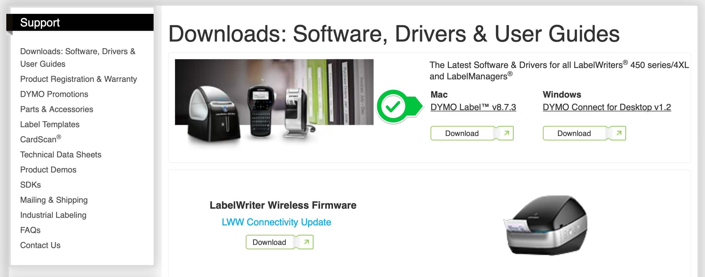 Click Download to download the DYMO Label software.