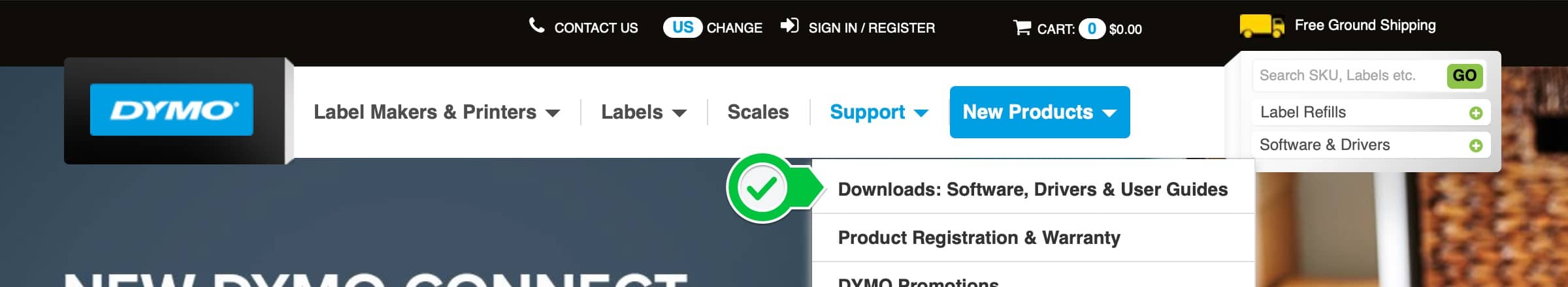 The DYMO web site. Click Support, then Downloads.